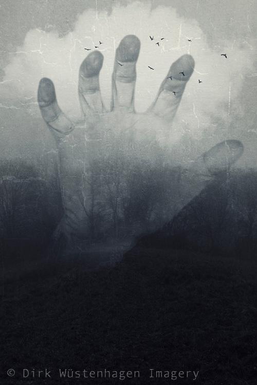 double exposute hand - landscape