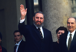 Francois Mitterrand receives Fidel Castro at Elysee in Paris on March 13, 1995. Photo by Mousse/ABACAPRESS.COM    223978_010 Paris France