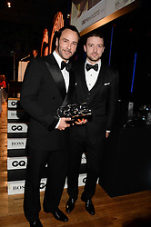Left to right, TOM FORD winner of the Designer of The year Award JUSTIN TIMBERLAKE at the GQ Men of The Year Awards 2013 in association with Hugo Boss held at the Royal Opera House, London on 3rd September 2013.