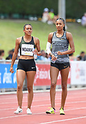 Nafi Thiam aka Nafissatou Thiam (BEL), right, talks with <br /> Solene Ndama (FRA) during the heptathlon javelin during the DecaStar meeting, Saturday, June 23, 2019, in Talence, France. Thiam won with 6,819 points. (Jiro Mochizuki/Image of Sport via AP)