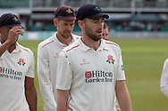 Richard Gleeson during the Specsavers County Champ Div 2 match between Leicestershire County Cricket Club and Lancashire County Cricket Club at the Fischer County Ground, Grace Road, Leicester, United Kingdom on 23 September 2019.