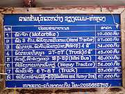 11 MARCH 2013 - ALONG HIGHWAY 13, LAOS: The prices for riding a Mekong River ferry. The Mekong River ferries are disappearing as bridges across the river are completed and roads along the river are paved. The paving of Highway 13 from Vientiane to near the Chinese border has changed the way of life in rural Laos. Villagers near Luang Prabang used to have to take unreliable boats that took three hours round trip to get from the homes to the tourist center of Luang Prabang, now they take a 40 minute round trip bus ride. North of Luang Prabang, paving the highway has been an opportunity for China to use Laos as a transshipping point. Chinese merchandise now goes through Laos to Thailand where it's put on Thai trains and taken to the deep water port east of Bangkok. The Chinese have also expanded their economic empire into Laos. Chinese hotels and businesses are common in northern Laos and in some cities, like Oudomxay, are now up to 40% percent. As the roads are paved, more people move away from their traditional homes in the mountains of Laos and crowd the side of the road living off tourists' and truck drivers.    PHOTO BY JACK KURTZ