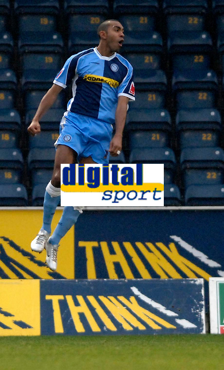 Photo: Richard Lane.<br />Wycombe Wanderers v Stockport County. Coca Cola League 2. 23/12/2006. <br />Wycombe's Kevin Betsey celebrates his goal.