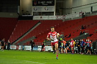 Rugby League - 2020 Betfair Super League - Semi-final - St Helens vs Catalan Dragons - TW Stadium<br /> <br /> St. Helens's Regan Grace runs free to score a try<br /> <br /> COLORSPORT/TERRY DONNELLY