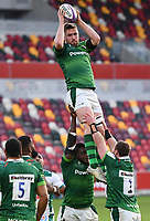 Rugby Union - 2020 / 2021 European Rugby Challenge Cup - London Irish vs Pau - Brentford Community Stadium<br /> <br /> London Irish's George Nott claims the lineout.<br /> <br /> COLORSPORT/ASHLEY WESTERN