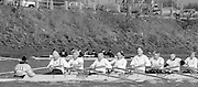 Chiswick. London.<br /> Eights starting from Mortlake. Vets', Masters Eight,<br /> <br /> 1987 Head of the River Race over the reversed Championship Course Mortlake to Putney on the River Thames. Saturday 28.03.1987. <br /> <br /> [Mandatory Credit: Peter SPURRIER;Intersport images] 1987 Head of the River Race, London. UK