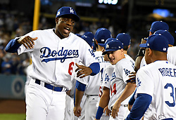 October 6, 2017 - Los Angeles, California, U.S. - Los Angeles Dodgers' Curtis Granderson (6) reacts as he is announced prior to a National League Divisional Series baseball game against the Arizona Diamondbacks at Dodger Stadium on Friday, Oct. 06, 2017 in Los Angeles. (Photo by Keith Birmingham, Pasadena Star-News/SCNG) (Credit Image: © San Gabriel Valley Tribune via ZUMA Wire)