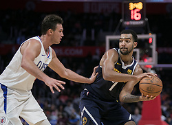 October 9, 2018 - Anaheim, California, U.S - Danilo Gallinari #8 of the Los Angeles Clippers tries to block Trey Lyles #7 of the Denver Nuggets as he looks to pass the ball during their NBA preseason game on Tuesday October 9, 2018 at the Staples Center in Los Angeles, California. Clippers defeat Nuggets, 109-103. (Credit Image: © Prensa Internacional via ZUMA Wire)