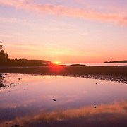 Sunrise at low tide on the coast of Maine