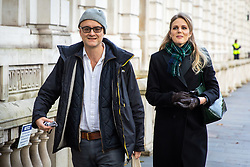 © Licensed to London News Pictures. 04/11/2019. London, UK. Dominic Cummings, Special Advisor to British Prime Minister Boris Johnson, (left) and Cleo Watson (right) arrive at Downing Street this morning. Photo credit : Tom Nicholson/LNP