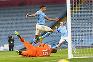 Manchester City forward Gabriel Jesus (9) scores a goal but is ruled offside during the Premier League match between Manchester City and Burnley at the Etihad Stadium, Manchester, England on 28 November 2020.