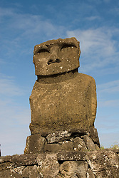 Chile, Easter Island: Statue or moai on a platform or ahu called Ahu Tahai, near Hang Roa..Photo #: ch224-33105.Photo copyright Lee Foster www.fostertravel.com lee@fostertravel.com 510-549-2202