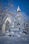 The Historic Oella Church in Oella, Maryland following a blizzard.