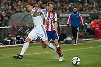 Atletico de Madrid's Saul Niguez and Real Madrid's Cristiano Ronaldo during 2014-15 Spanish King Cup match at Vicente Calderon stadium in Madrid, Spain. January 07, 2015. (ALTERPHOTOS/Luis Fernandez)