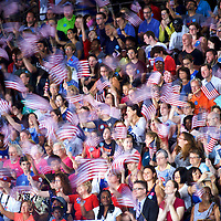 PHILADELPHIA, PA- July 29, 2016.  Supporters cheer before Hillary Clinton and Tim Kaine arrived for a rally the day after the Democratic National Convention at Temple University in Philadelphia, PA on July 29, 2016.  CREDIT: Mark Makela for The New York Times      NYTDNC
