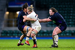 Marlie Packer of England Women is tackled by Emma Wassell of Scotland Women - Mandatory by-line: Robbie Stephenson/JMP - 16/03/2019 - RUGBY - Twickenham Stadium - London, England - England Women v Scotland Women - Women's Six Nations