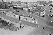 "Y-670203A-04 ""Intersection of west Burnside & 14th for traffic court. February 3, 1967"" Crystal Ballroom, I-405 Stadium Freeway construction. Portland, Oregon."