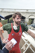 """Putney. London. GREAT BRITAIN;  GBR LM1X. Peter HAINING, interviewed by the Times Rowing correspondent, Mike ROSEWELL after the race.<br /> <br /> 1995 Thames World Sculling Championships, Putney to Mortlake. Championship Course, River Thames.<br /> <br /> [Mandatory Credit; """"Photo, Peter Spurrier/Intersport-images]"""