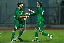 Change of Marijo Mocic (20)  of Slovenia and Rene Mihelic (10)  of Slovenia during Friendly match between U-21 National teams of Slovenia and Romania, on February 11, 2009, in Nova Gorica, Slovenia. (Photo by Vid Ponikvar / Sportida)