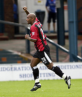 Copyright Sportsbeat. 0208 8768611<br />Picture: Henry Browne<br />Date: 2/08/2003<br />Oldham Athletic v Manchester City pre season friendly<br />Trevor Sinclair celebrates after scoring City's first goal