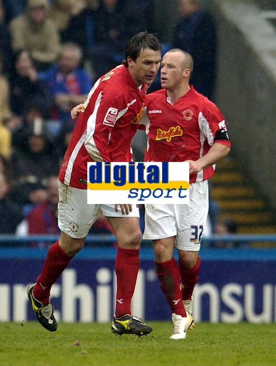 Photo: Olly Greenwood.<br />Crystal Palace v Crewe Alexander. Coca Cola Championship. 15/04/2006. Crewes Luke Rodgers celebrates scoring
