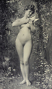 Jeune Femme a la Colombe [Young Woman with a Dove] by Leon Perrault from Le Nu au Salon 1908 A collection of Nude photography published in Paris in 1908 by Société nationale des beaux-arts (France). et Société des artistes français. Catalogs of nudes exhibited at the official Paris Salons. Some years have two parts: The Salon held at the Champs Élysées sponsored by the Société des artistes français and the Salon held at the Champ de Mars sponsored by the Société nationale des beaux-arts