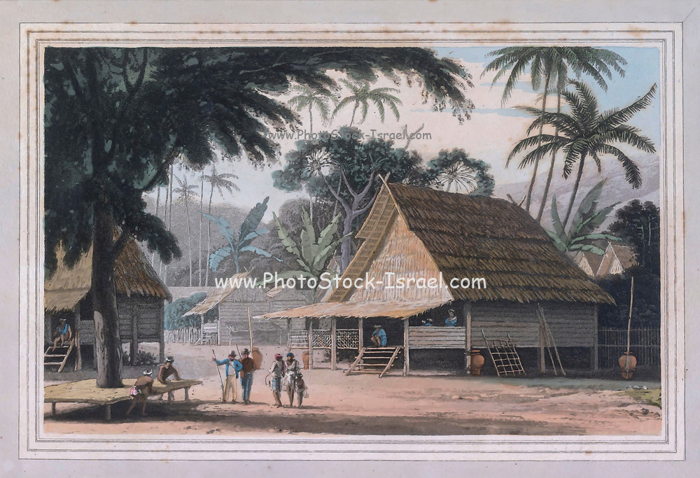 THE Malay doosoonis or villages are frequently situated on the borders of a lake, and generally command an eminence difficult of access.  colour print from the book ' A Picturesque Voyage to India by Way of China  ' by Thomas Daniell, R.A. and William Daniell, A.R.A. London : Printed for Longman, Hurst, Rees, and Orme, and William Daniell by Thomas Davison, 1810. The Daniells' original watercolors for the scenes depicted herein are now at the Yale Center for British Art, Department of Rare Books and Manuscripts,