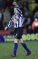 Fotball - Nationwide First league - 17.01.2003<br /> Sheffield United v Sheffield Wednesday<br /> Alan Quinn jubler etter scoring for Wednesday<br /> Foto: Aidan Ellis, Digitalsport