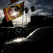 A Florida State flag is seen in the parking lot prior to a NCAA football game between the Ole Miss Rebels and the Florida State Seminoles at Camping World Stadium on September 5, 2016 in Orlando, Florida. (Alex Menendez via AP)