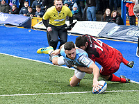 Rugby Union - 2018 / 2019 European Rugby Champions Cup - Pool Three: Cardiff Blues vs. Lyon<br /> <br /> Aled Summerhill; of Cardiff Blues: scores his 2nd  try  , at Cardiff Arms Park.<br /> <br /> COLORSPORT/WINSTON BYNORTH