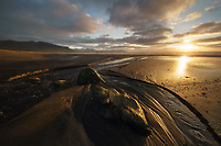 Beautiful sunset along the coast in western Iceland