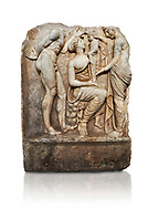 Roman Sebasteion relief sculpture, Aphrodisias of Dionysus as a baby, Aphrodisias Museum, Aphrodisias, Turkey.      Against a white background.<br /> <br /> Baby Dionysus is handed from one nymph to another for suckling. A bearded Silenos gestures excitedly. The scene is set at Nysa in the Meander Valley, where Zeus had his gifted child Dionysos, born to him by Semele and brought up in the wilds out of the view of Hera. .<br /> <br /> If you prefer to buy from our ALAMY STOCK LIBRARY page at https://www.alamy.com/portfolio/paul-williams-funkystock/greco-roman-sculptures.html . Type -    Aphrodisias     - into LOWER SEARCH WITHIN GALLERY box - Refine search by adding a subject, place, background colour, museum etc.<br /> <br /> Visit our ROMAN WORLD PHOTO COLLECTIONS for more photos to download or buy as wall art prints https://funkystock.photoshelter.com/gallery-collection/The-Romans-Art-Artefacts-Antiquities-Historic-Sites-Pictures-Images/C0000r2uLJJo9_s0
