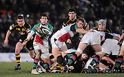 Wycombe, GREAT BRITAIN,   Harlequins' Danny CARE, passes the ball, during the London Wasps vs Harlequins match, at Adam's Park Stadium, Bucks on Sun 04.01.2009. [Photo, Peter Spurrier/Intersport-images]