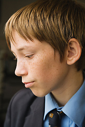 Secondary school student portrait in profile,