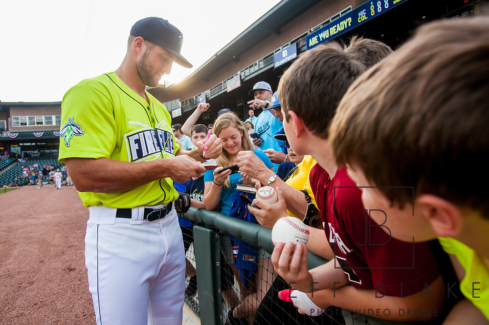 Columbia Fireflies left fielder Tim Tebow during a game at Spirit Communications Park on April 12, 2017. Photo by Jeff Blake/Jeff Blake Photography