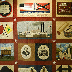 Frederick, Maryland - Inside the National Museum of Civil War Medicine, a blend of serious and macabre, reveals the trials of the nascent field of triage medicine on and beyond the battlefield.  Here, a display quilt highlights leaders and aspects of the fledgling field of emergency medicine.  Photo by Susana Raab