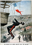 Soldier of the French ballooning corps, accidentally carried up on a captive army balloon, falling to his death when he could no longer hold on.  'Le Petit Journal',  12 May 1901. Accident Ballooning Military