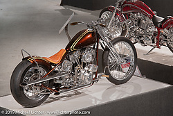 Paul Cox's custom rigid Pan-Shovel in the More Mettle - Motorcycles and Art That Never Quit exhibition in the Buffalo Chip Events Center Gallery during the Sturgis Motorcycle Rally. SD, USA. Thursday, August 12, 2021. Photography ©2021 Michael Lichter.