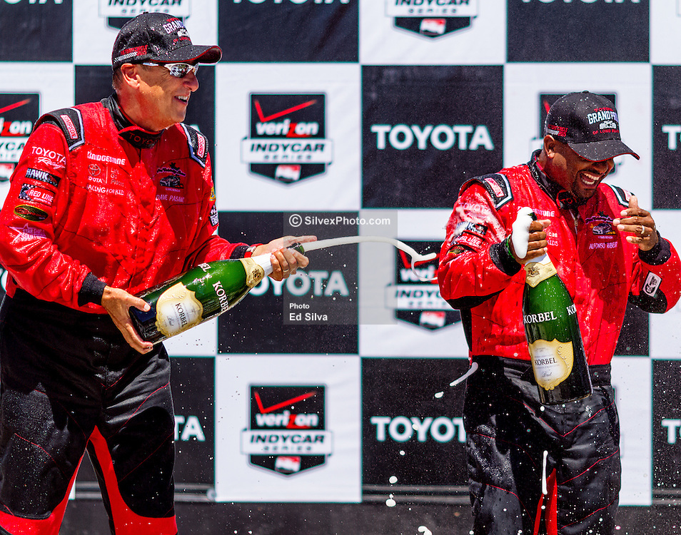 """LONG BEACH, CA - APRIL 18   Alfonso Ribeiro won the 2015 Toyota Grand Prix of Long Beach Pro/Celebrity race, triumphing over a field of film, television, music and sports stars in the annual charity racing event. The roaring crowd witnessed the stunning performance by Ribeiro who started the race 30-seconds behind the celebrity division in his Scion FR-S race car. Ribeiro, a two-time Toyota Pro/Celebrity winner (1994 & 1995), is best known for his role as 'Carlton' on """"Fresh Prince of Bel Air."""" Ribeiro, who took home the coveted Mirror Ball trophy last season on """"Dancing with the Stars,"""" took the pro division pole position in Friday's qualifying, turning a lap of 1:44.449. 2015 April 18. Byline, credit, TV usage, web usage or linkback must read SILVEXPHOTO.COM. Failure to byline correctly will incur double the agreed fee. Tel: +1 714 504 6870."""