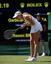 Naomi Broady reacts on day two of the Wimbledon Championships at the All England Lawn Tennis and Croquet Club, Wimbledon.