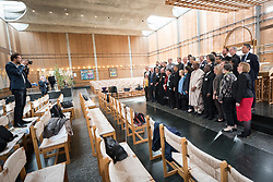 18 September 2017, Geneva, Switzerland: Group photo at the end of morning prayers at the Ecumenical Centre in Geneva, as the World Council of Churches hosts a meeting of member churches' Ecumenical Officers.