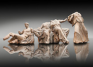 Figures from the East Pediment of the Parthenon, Acropolis Athens. From left to right cat no D Dionysos ,middle E & F Demeter & Persephone, left G Hebe. British Museum London Exhibit .<br /> <br /> If you prefer to buy from our ALAMY STOCK LIBRARY page at https://www.alamy.com/portfolio/paul-williams-funkystock/greco-roman-sculptures.html . Type -    Elgin    - into LOWER SEARCH WITHIN GALLERY box - Refine search by adding a subject, place, background colour, etc.<br /> <br /> Visit our ROMAN WORLD PHOTO COLLECTIONS for more photos to download or buy as wall art prints https://funkystock.photoshelter.com/gallery-collection/The-Romans-Art-Artefacts-Antiquities-Historic-Sites-Pictures-Images/C0000r2uLJJo9_s0