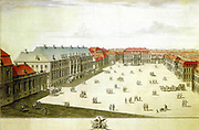 Wilhelmplatz, Berlin; view of planned development looking north.  Pen, ink and wash. 18th century. Prussia Germany