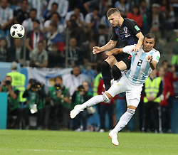 NIZHNY NOVGOROD, June 21, 2018  Gabriel Mercado (R) of Argentina vies with Ante Rebic of Croatia during the 2018 FIFA World Cup Group D match between Argentina and Croatia in Nizhny Novgorod, Russia, June 21, 2018. (Credit Image: © Yang Lei/Xinhua via ZUMA Wire)