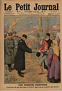 Balkan Wars: Peter I (1844-1921) King of Serbia performing the traditional ceremony of breaking the bread offered to him by the Mayor of a town captured by Serbian troops.  From 'Le  Petit Journal', 24 November 1912.