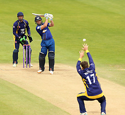 Gloucestershire's Geraint Jones hits over the top past Durham's Ryan Pringle - Mandatory by-line: Robbie Stephenson/JMP - 07966386802 - 04/08/2015 - SPORT - CRICKET - Bristol,England - County Ground - Gloucestershire v Durham - Royal London One-Day Cup