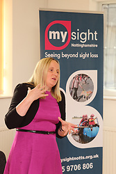 Visually impaired PR officer of Mysight charity presenting their new branding to a meeting.