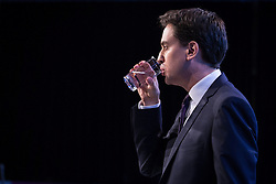 © Licensed to London News Pictures . 24/09/2013 . Brighton , UK . ED MILIBAND drinks some water as he delivers the Leader's Speech to the Labour Party conference , this afternoon (24th September 2013) . Day 3 of the Labour Party Conference in Brighton . Photo credit : Joel Goodman/LNP
