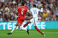 Jesse Lingard of England tries a volley shot at goal. FIFA World cup qualifying match, european group F, England v Malta at Wembley Stadium in London on Saturday 8th October 2016.<br /> pic by John Patrick Fletcher, Andrew Orchard sports photography.