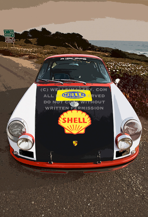 Image of the Rolly Resos 1966 Porsche 911 R Gruppe Hot Rod ex-rally car in Cambria, California, America West, property released by Randy Wells